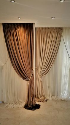 Kadife fon braçol krem kahve Sewing Faltrollo yourself - DIY ideas with practical application Luxury Curtains, Elegant Curtains, Beautiful Curtains, Brown Curtains, Double Curtains, Curtains With Blinds, Hall Interior, Decor Interior Design, Outhouse Bathroom Decor
