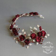 Bridal burgundy gold wreath wedding hair by KathleenBarryJewelry