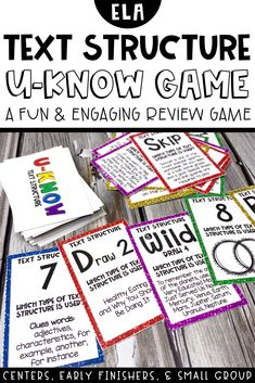 Text Structure U-Know Game!! A fun and engaging way to practice the many different types of text structure such as compare and contrast, problem and solution, description, chronological/sequence, and cause and effect! Great for centers, really finishers, and review.  Also great to send home during times of distance learning. Students will love playing their favorite review game with their family!  Easy print, cut and play!