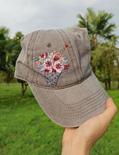 America Ice Cream Hat Hand Embroidered Floral Denim Cap Ice   Etsy Denim Cap, Floral Denim, Happy Independence Day, Embroidered Caps, Embroidered Flowers, Handmade Headbands, Floral Headbands, Meaningful Gifts, Cotton Thread