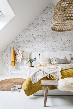 30 Brilliant Loft Bedroom Decor Ideas and Designs - Loft Bedroom Decor, Brick Wall Bedroom, Dream Bedroom, Home Bedroom, Loft Bedrooms, White Wall Bedroom, Warm Bedroom, Wicker Bedroom, Bedroom Inspo