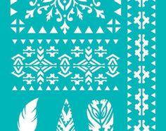 "Stencil Stencils Templates ""Tribal, Arrows, Feather"", self-adhesive, flexible… Stencil Templates, Stencil Patterns, Stencil Designs, Lace Patterns, Embroidery Patterns, Hand Embroidery, Stencil Painting, Painting On Wood, Stencil Diy"