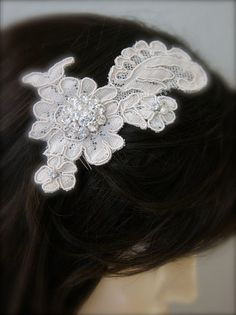 A hand dyed ivory or champagne colored vintage lace wedding hair accessory with added sparkle from vintage and new pearl and rhinestone accents.