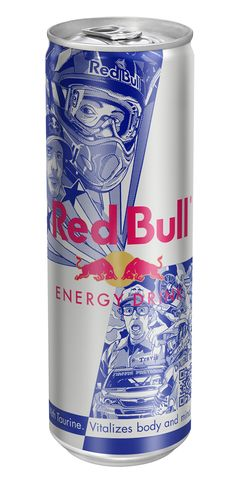 Special edition redesign of the Red Bull can featuring world-renowned stunt rider Travis Pastrana