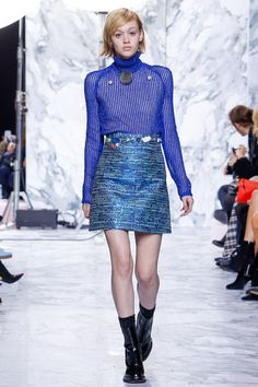 Carven | Fall 2016 Ready-to-Wear | 35 Blue striped long sleeve sweater and green printed mini skirt
