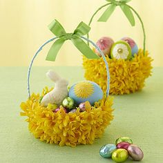 Create an attractive floral basket using a flower covered bowl and some pretty ribbon to deliver Easter treats.