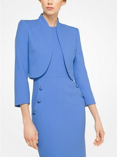 Meticulously crafted from stretch bouclé-crepe, this tailored bolero jacket is defined by clean lines and a rounded shoulder. Layer this forever piece over a fitted dress or pair it with cropped trousers. Winter Dresses For Work, Grace Kelly Style, High Waisted Pencil Skirt, Michael Kors, Bolero Jacket, Cropped Trousers, Work Attire, Dress To Impress, Women's Fashion Dresses