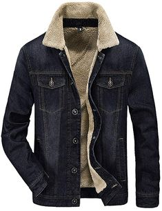 e12ffb87d8bf Tanming Men s Winter Casual Lined Cashmere Warm Denim Jacket Review Mens  Trends