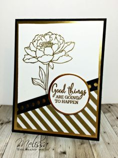 Stampin' Up! hand crafted card::  You've Got This in black and white with metallic gold ... luv the layout design ...