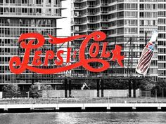 Pepsi Cola Bottling Sign, Long Island City, New York, United States, Black and White Photography Reproduction photo