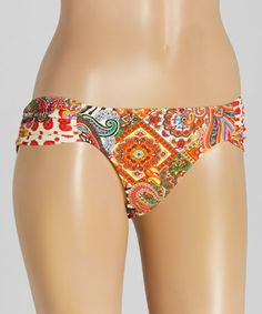 Loving this Black & Orange Pasión Ruched-Side Bikini Bottoms on #zulily! #zulilyfinds