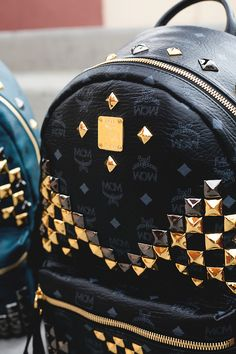 mcm mcm backpack black stud swag Fashionable Mens Fashion girls back packing street style dope gold