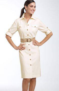 Tahari - Dress with roll tab sleeves and a cute rope weave belt. Nice Dresses, Casual Dresses, Dresses For Work, Dress Outfits, Fashion Dresses, Safari Dress, Dress Skirt, Shirt Dress, Frack