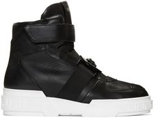 Versace Black Leather High-Top Sneakers | SSENSE saved by #ShoppingIS