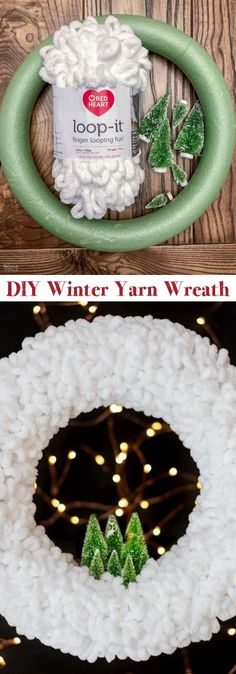 This DIY Christmas wreath is super quick and easy! Use loop yarn to create this gorgeous snowy holiday wreath. My favorite Christmas DIY home decor idea yet! Home Decor christmas Loop Yarn Wreath - An EASY DIY Winter Wreath! - The Navage Patch Diy Christmas Decorations For Home, Holiday Wreaths, Diy Christmas Gifts, Simple Christmas, Holiday Crafts, Christmas Ornaments, Christmas Christmas, Christmas Ideas, Christmas Island