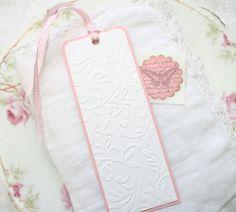Embossed Bookmark Handmade -  Embossed Vine,  Pink Gingham Ribbon
