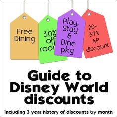 Guide to Disney World discounts - includes charts for every month showing what/when discounts were available