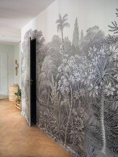 ilaria fatone x rebel walls - panoramic wallpaper in hallway Best Living Room Design, Living Room Designs, Living Room Decor, Slow Design, Ikea Kallax Hack, Hallway Inspiration, Interior Design Inspiration, Ikea Hacks, Ikea Hallway