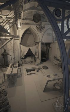 ArtStation - ECLECTIC LOFT: when romanesque meet gothic in an old piece of factory, La Alegría Inspirational Music, Romanesque, Gothic, Loft, Interior, Artwork, 3d, Goth, Work Of Art