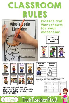 These classroom rules posters work as visual reminders to help your students make good choices in the classroom. Place the posters around key areas of your room such as doors, windows and areas where children sit, to prompt students to do the right thing. There are also 4 worksheets to match that you can use with students during your first days of school, to reinforce the concepts. #classroom #classroomrules #behavior #teacherspayteachers #posters #classroomdecor #teachers