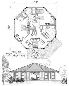 , 2 Bedrooms, 1 Baths, Patio Collection by Topsider Homes Round House Plans, Modern House Plans, Small House Plans, House Floor Plans, Casa Octagonal, Hexagon House, 1000 Sq Ft House, House Plans South Africa, Silo House