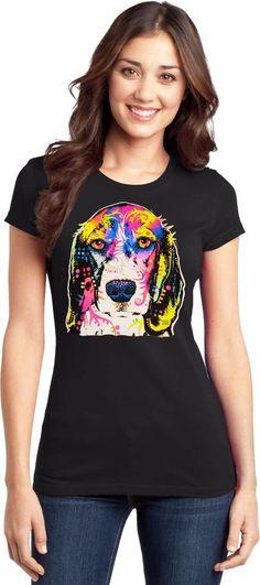 54a7d88a9 Beagle Womens T Shirt Cute Neon Dog Puppy Eyes Sizes Small to 3XL