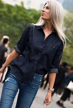 Try a double denim look. Hint: best with two colors of denim. Mature Fashion, 60 Fashion, Timeless Fashion, Sarah Harris, Khadra, Double Denim, Ageless Beauty, Style Challenge, Love Her Style