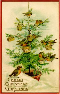 Vintage Birds Christmas Tree Image - Charming! - The Graphics Fairy