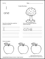 Thumbnail of Number Sheets 1 through 10 worksheets for preschool