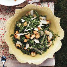 Wild Arugula Salad with Garlic Croutons, Shaved Parmesan, and Lemon Recipe  at Epicurious.com