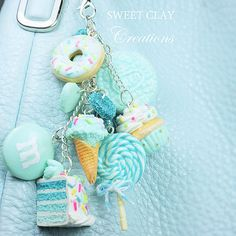 Teal Mint Polymer clay cake donut cupcake icecream lollipop keychain charms cute kawaii Sweet Clay C Polymer Clay Cake, Fimo Clay, Polymer Clay Projects, Polymer Clay Charms, Polymer Clay Creations, Polymer Clay Jewelry, Clay Crafts, Fimo Kawaii, Polymer Clay Kawaii