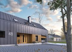 Roof Architecture, Modern Architecture House, Residential Architecture, Gate House, Facade House, Renovation Design, Modern Barn House, Shed Homes, Steel House