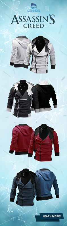 Assassin's Creed III  #assassins #geek #menswear Shop for more awesome hoodies here: geekhoodies.com/