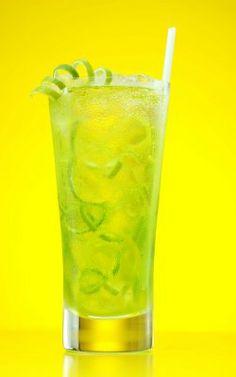 Midori Shamrock~T~ 1 part Midori, 1 part vodka and a splash of club soda. Garnish with a lime peel.