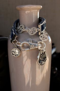 Denim Wrap Bracelet with Steampunk Inspired Gear Chain with Gear Clock and Charm - Bracelet Wraps Around Twice for a Unique Look - 466571373 by AllintheJeans on Etsy