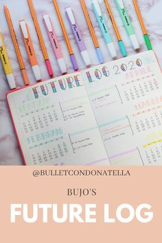 """My bullet journal's future log of 2020. I used stabilo point 88 pens and stabilo swing cool highlighters. Check my IG profile """"bulletcondonatella"""" for more suggestions! Stabilo Point 88, Highlighters, Pens, Bullet Journal, Profile, Rainbow, Cool Stuff, Future, Check"""
