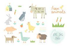 Check out Farm Animals Clipart & Vector by Lera Efremova on Creative Market
