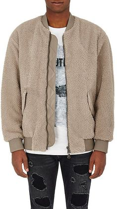 Helmut Lang MEN'S FLEECE ZIP-FRONT BOMBER