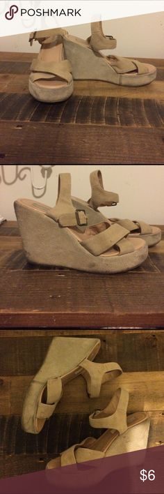 🌻URBAN OUTFITTERS Sandal Wedges🌻 URBAN OUTFITTERS sandal wedges have been my favorites forever even though they were always a bit too small for me. Worn condition but could be cleaned up. Cooperative brand from Urban Outfitters. Urban Outfitters Shoes Wedges