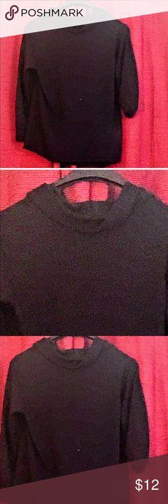 💕plain black light knit cowl neck sweater 💕 💕this is just a plain black cowl neck sweater light weight american 525 Sweaters Cowl & Turtlenecks