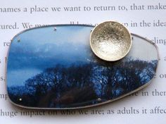 Winter Song brooch with silver moon by Cari-Jane Hakes hybrid handmade from 'The Moon Brooch' series (98$) - I LOVE of this brooch !!! #handmade #silver #enamel #jewellery #jewelry
