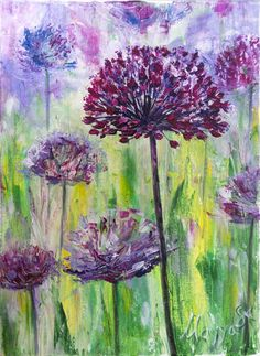 Original Floral Painting by Mayya Sultan Purple Painting, Acrylic Painting Flowers, Spring Painting, Wild Flower Meadow, Wild Flowers, Wildflower Drawing, Acrylic Painting Inspiration, Green Paintings, Mini Canvas Art