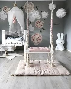 How pretty is this little girl's room by Stine S.moi 👈🏻 Shop Miffy lamp via the link in our bio 💕 . Baby Bedroom, Baby Room Decor, Nursery Room, Girl Nursery, Girls Bedroom, Nursery Decor, Bedrooms, Bedroom Swing, Babies Nursery