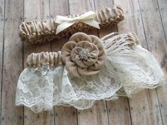 Wedding Garters Burlap Garter Set LACE WEDDING GARTER bridal accessories ivory garder on Etsy, $49.00