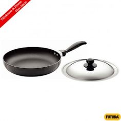 Futura Nonstick Frying Pan Rounded Sides With SS Lid 26 Cm, 3.25 Mm