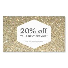 Customizable Discount Coupon Card for your business - great for boutiques, beauty salons, hair stylists, makeup artists, etc. Festive gold glitter design is great for the holidays or any time of year. Just update the fields with your own promotion and text.