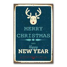 """weihnachtliche Wanddekoration Blechschild """"merry Christmas and a happy new year / red nose reindeer"""" / ca. 30x45 cm / Weihnachtsdeko / vintage Cuadros Lifestyle http://www.amazon.de/dp/B00PAIRU8C/ref=cm_sw_r_pi_dp_13Yyub0ZRBFFE"""