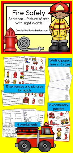 Your students will love learning about fire safety with Fire Safety Sentence Picture Match! This fun literacy center has everything you need, in an easy to prepare and fun to use format. 18 sentences and pictures for your students to match, 2 vocabulary posters, thematic writing paper (with lines in 3 primary sizes!), and 4 follow up worksheets are included. Students will practice close reading, abc order to the first letter, word order in sentences and labeling. TpT $