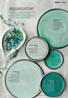 Coastal/ aquamarine/ seaglass paint palette. Blues/ aquas/ pale teals/ sea hues.