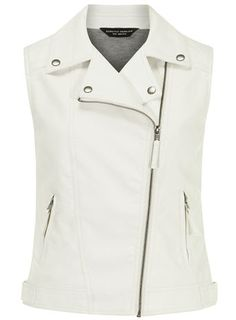 White PU biker gilet - View All Sale  - Sale & Offers